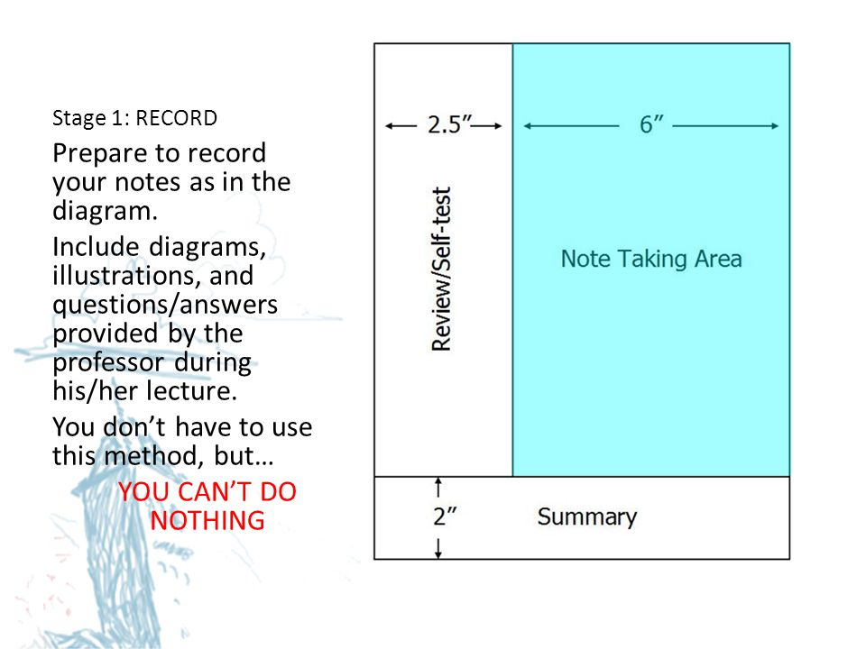 Prepare to record your notes as in the diagram.