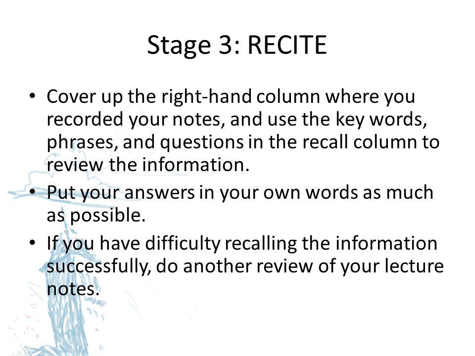 Stage 3: RECITE