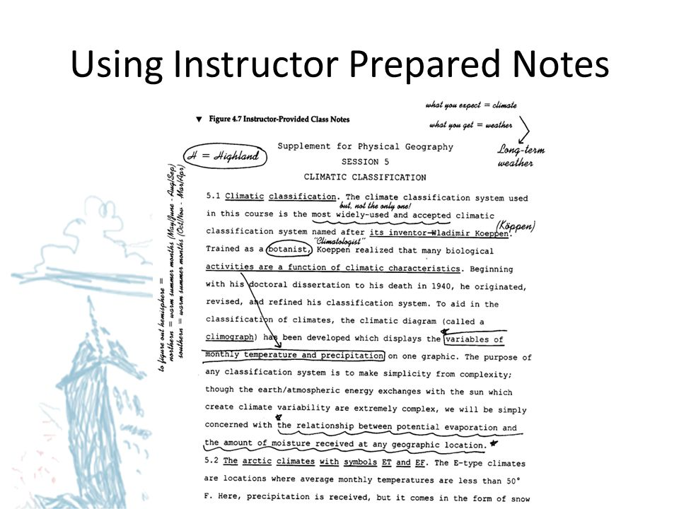 Using Instructor Prepared Notes