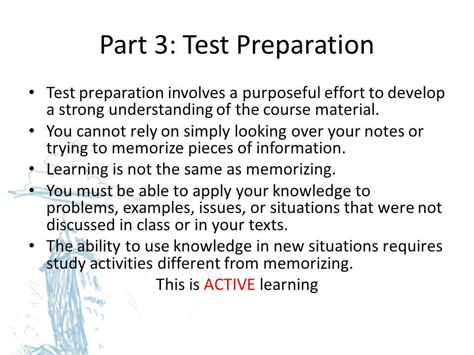 Part 3: Test Preparation