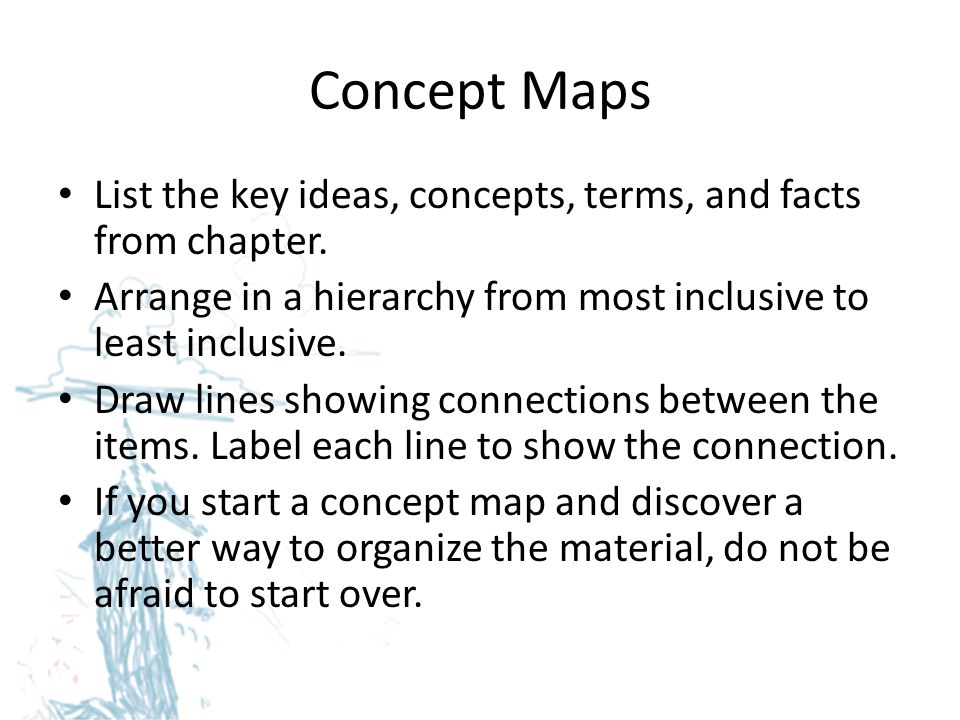 Concept Maps List the key ideas, concepts, terms, and facts from chapter. Arrange in a hierarchy from most inclusive to least inclusive.