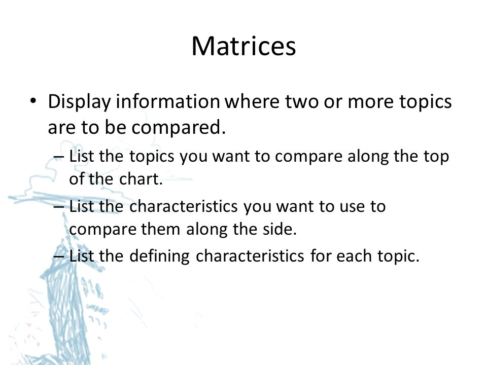 Matrices Display information where two or more topics are to be compared. List the topics you want to compare along the top of the chart.