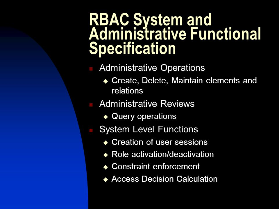 RBAC System and Administrative Functional Specification