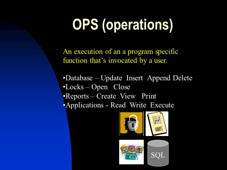 OPS (operations) An execution of an a program specific function that's invocated by a user. Database – Update Insert Append Delete.