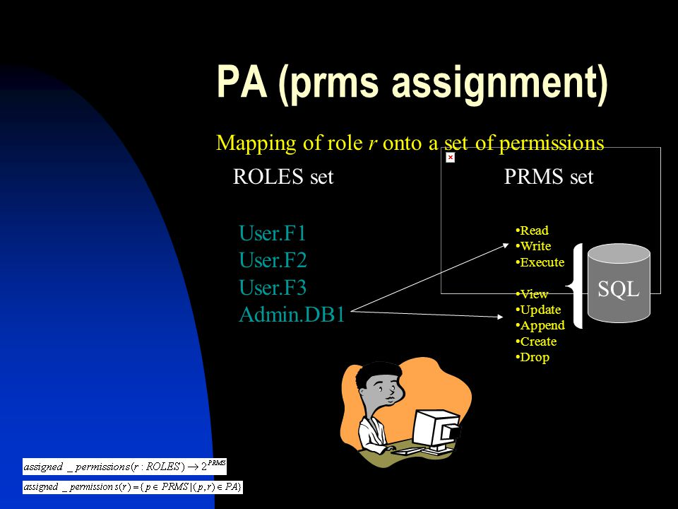 PA (prms assignment) Mapping of role r onto a set of permissions