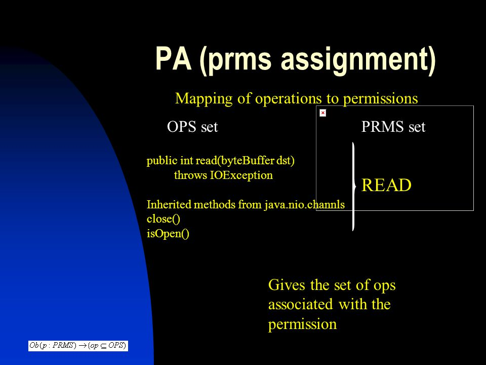 PA (prms assignment) READ Mapping of operations to permissions OPS set