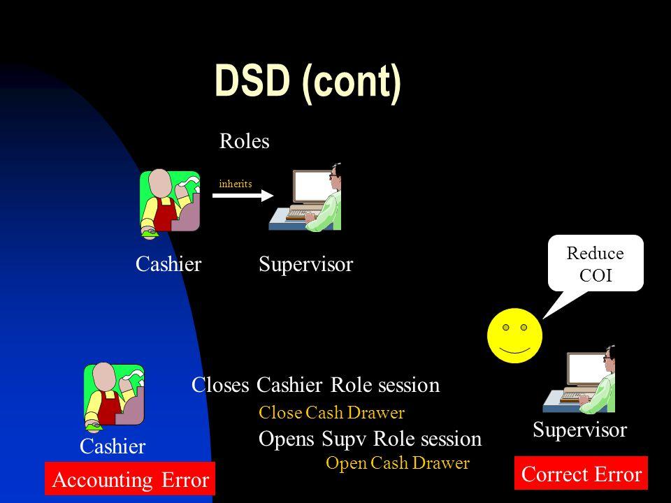 DSD (cont) Supervisor Roles Cashier Cashier Correct Error Supervisor