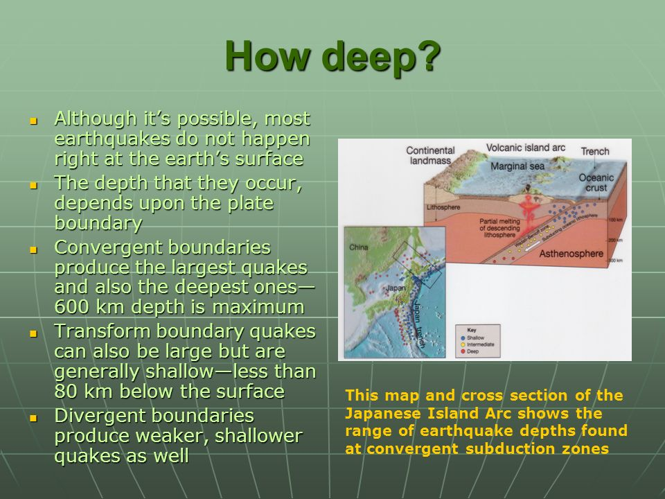 How deep Although it's possible, most earthquakes do not happen right at the earth's surface.