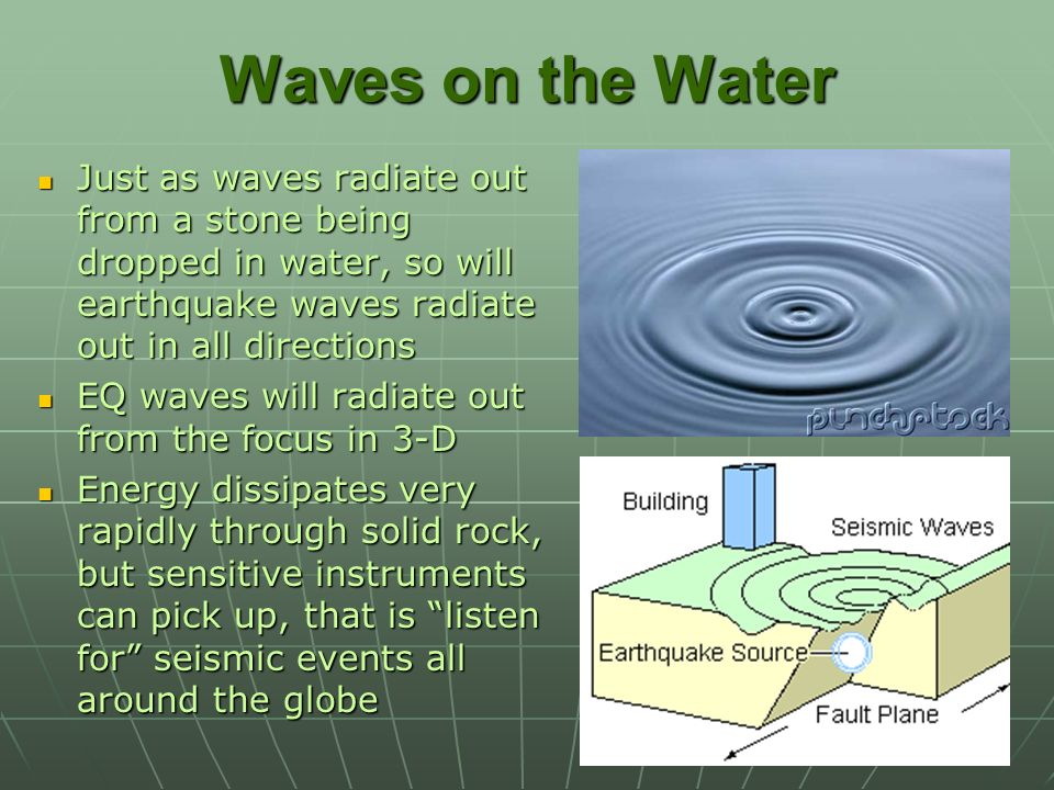 Waves on the Water Just as waves radiate out from a stone being dropped in water, so will earthquake waves radiate out in all directions.