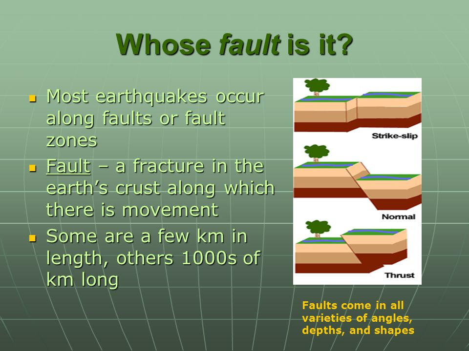 Whose fault is it Most earthquakes occur along faults or fault zones