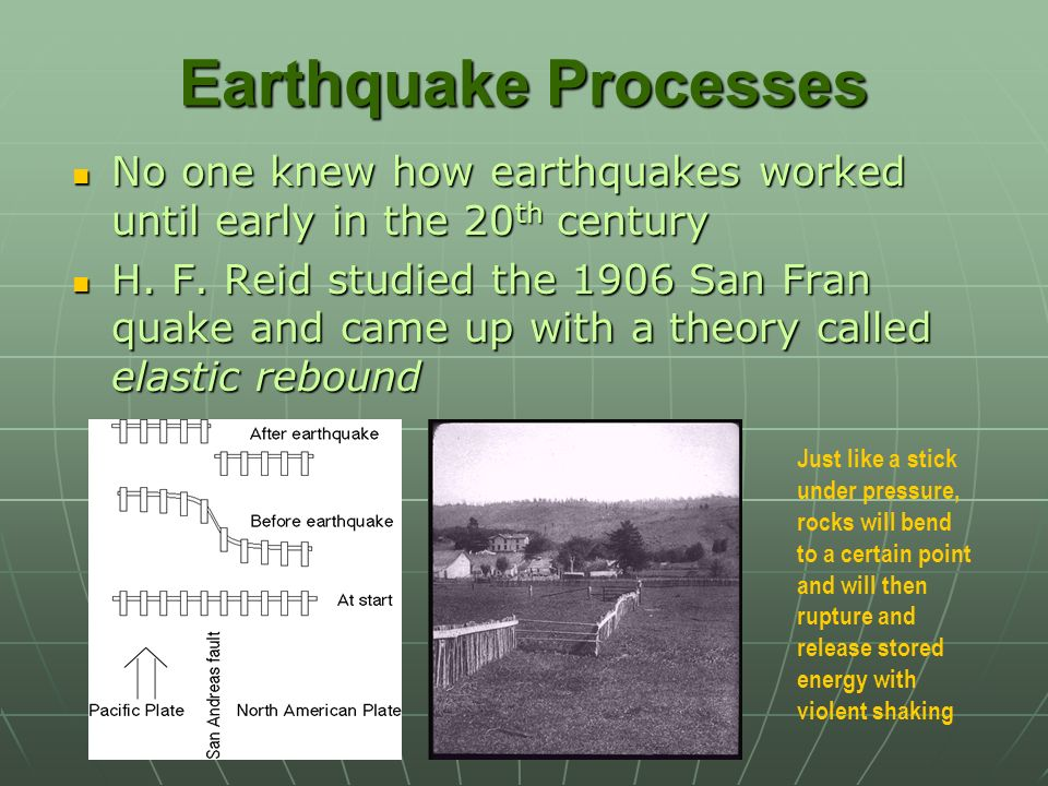 Earthquake Processes No one knew how earthquakes worked until early in the 20th century.