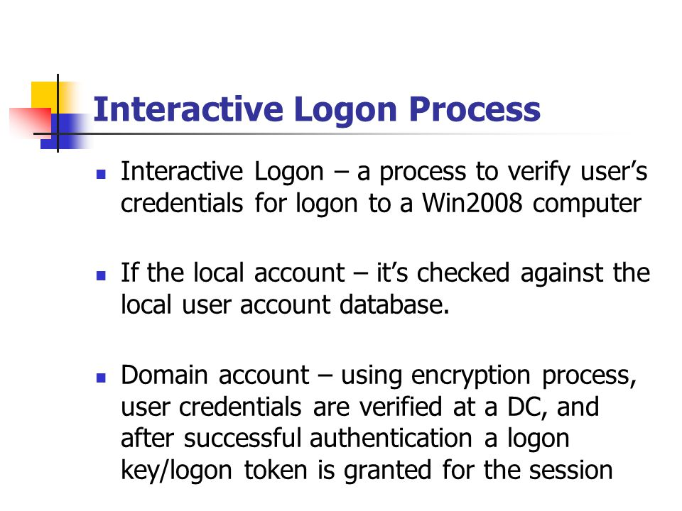 Interactive Logon Process