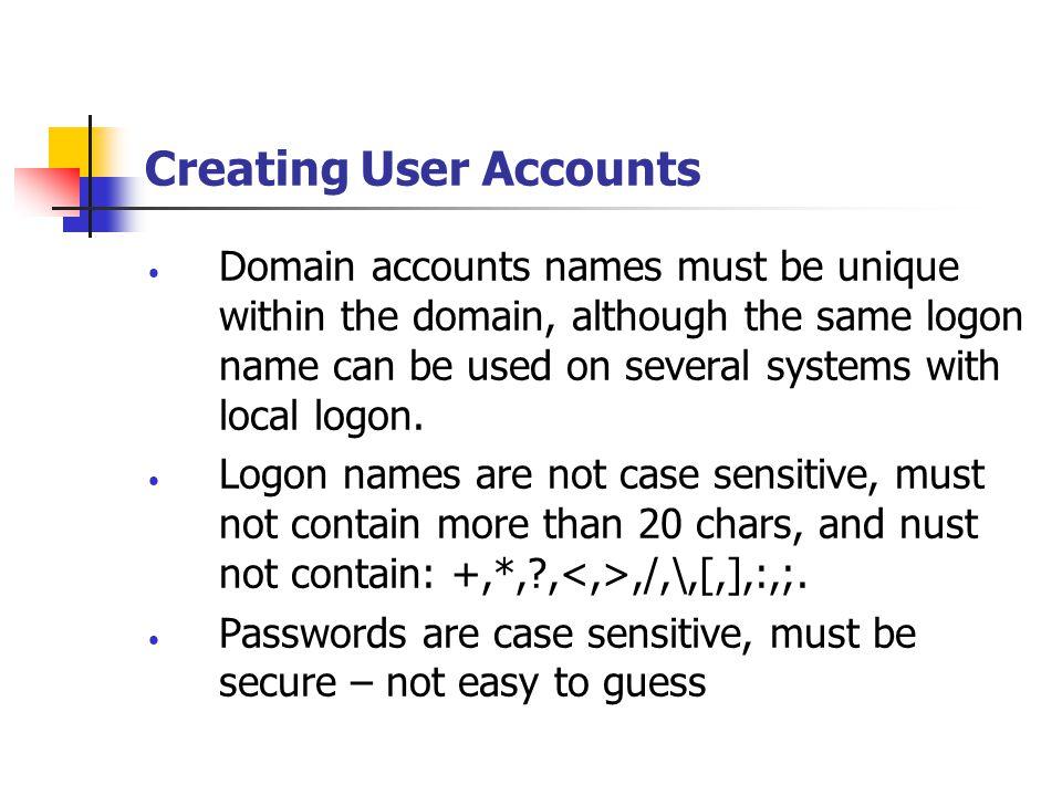 Creating User Accounts