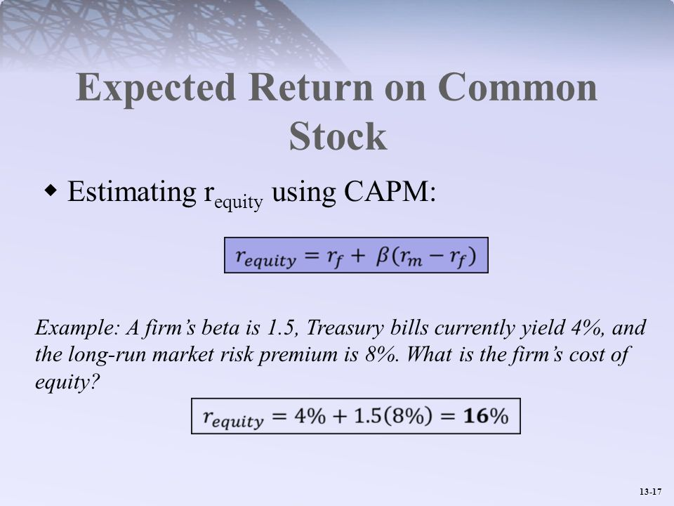Expected Return on Common Stock