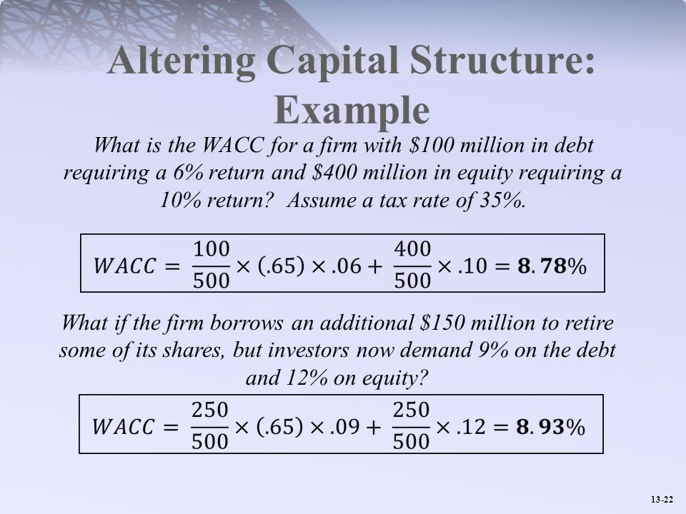 Altering Capital Structure: Example