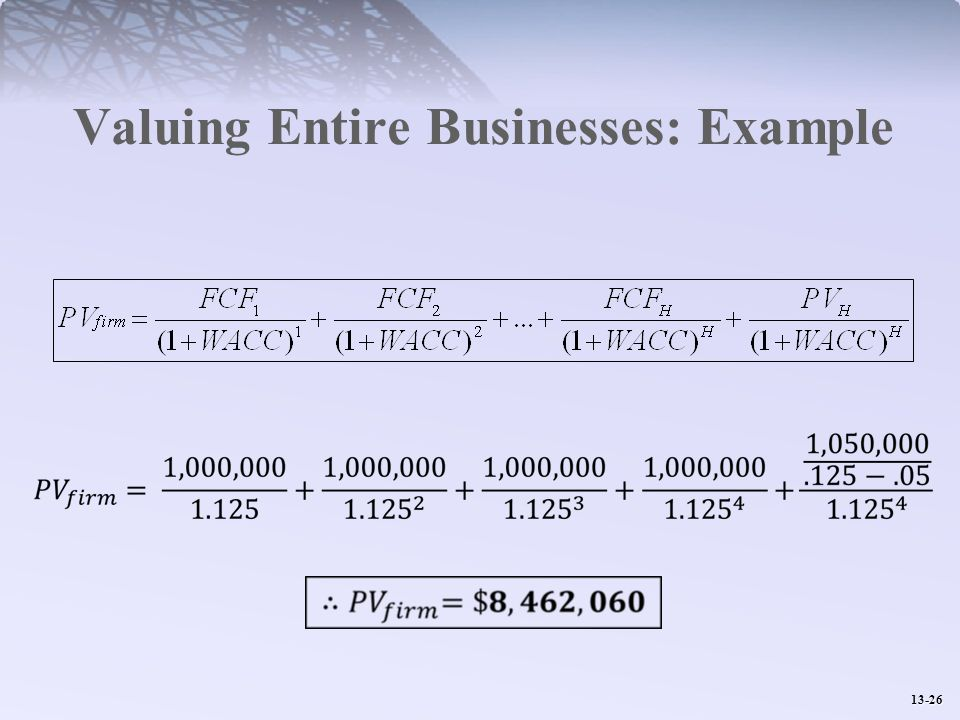 Valuing Entire Businesses: Example