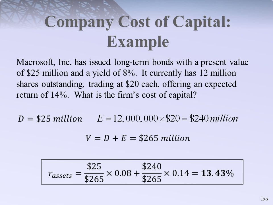 Company Cost of Capital: Example