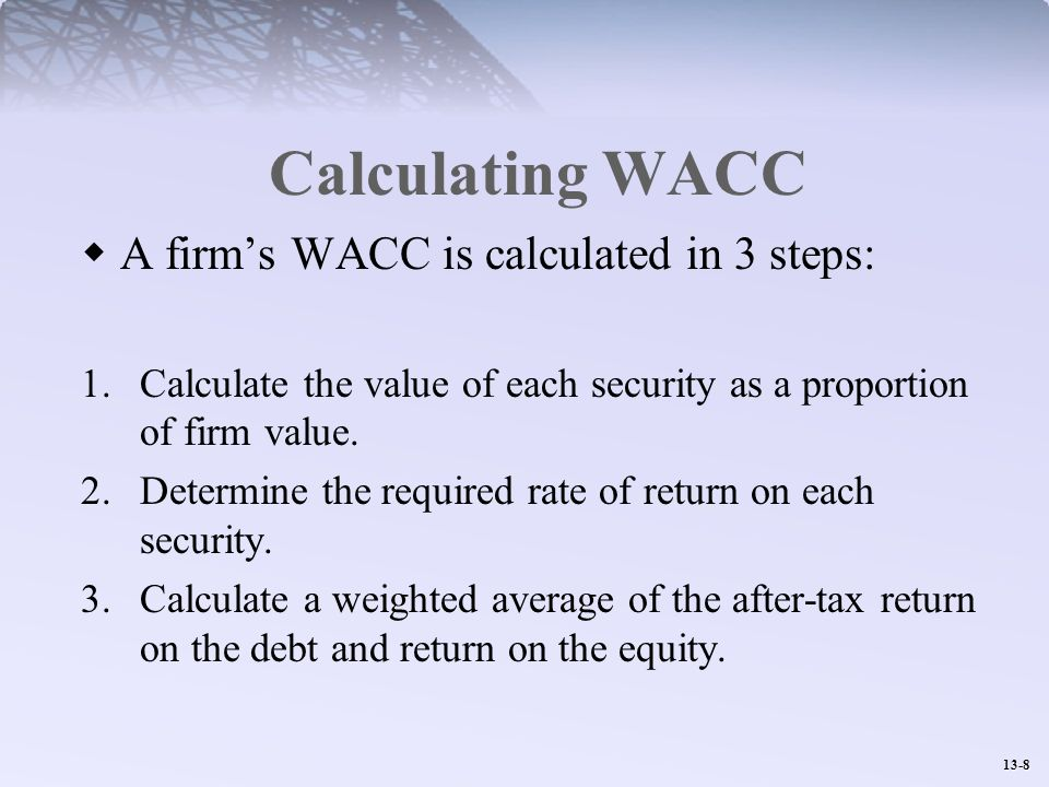 Calculating WACC A firm's WACC is calculated in 3 steps: