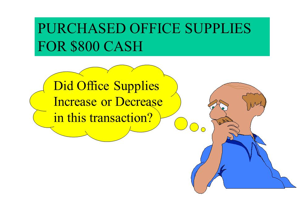PURCHASED OFFICE SUPPLIES FOR $800 CASH