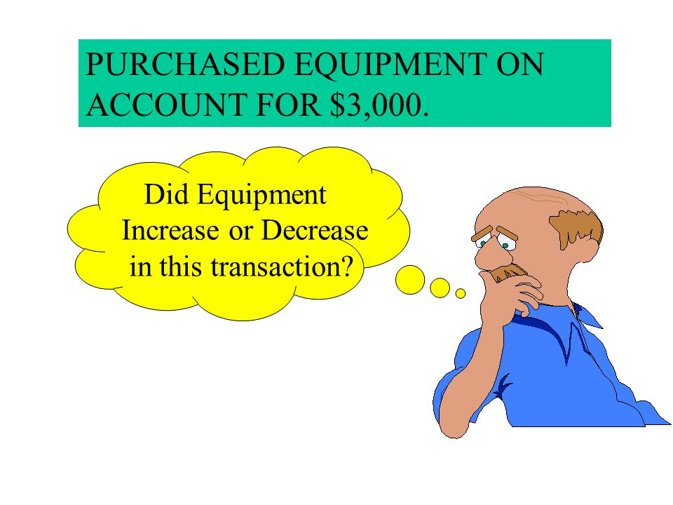 PURCHASED EQUIPMENT ON ACCOUNT FOR $3,000.
