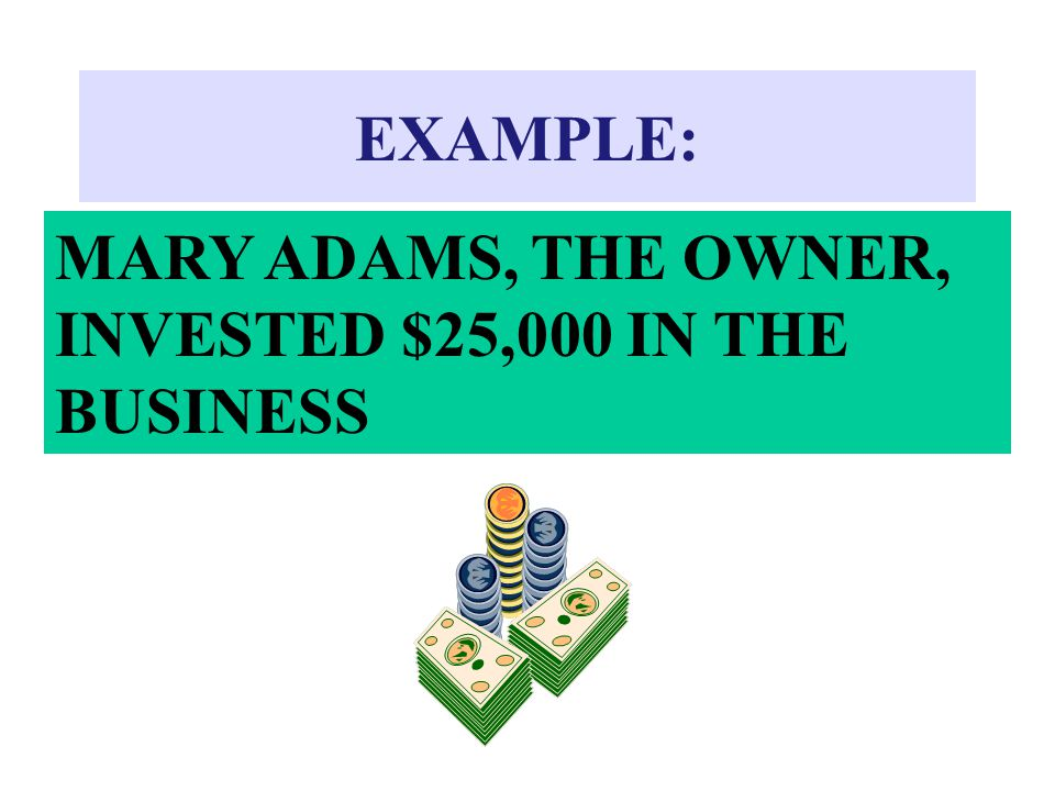EXAMPLE: MARY ADAMS, THE OWNER, INVESTED $25,000 IN THE BUSINESS