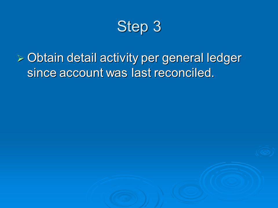 Step 3 Obtain detail activity per general ledger since account was last reconciled.