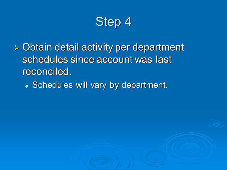 Step 4 Obtain detail activity per department schedules since account was last reconciled.