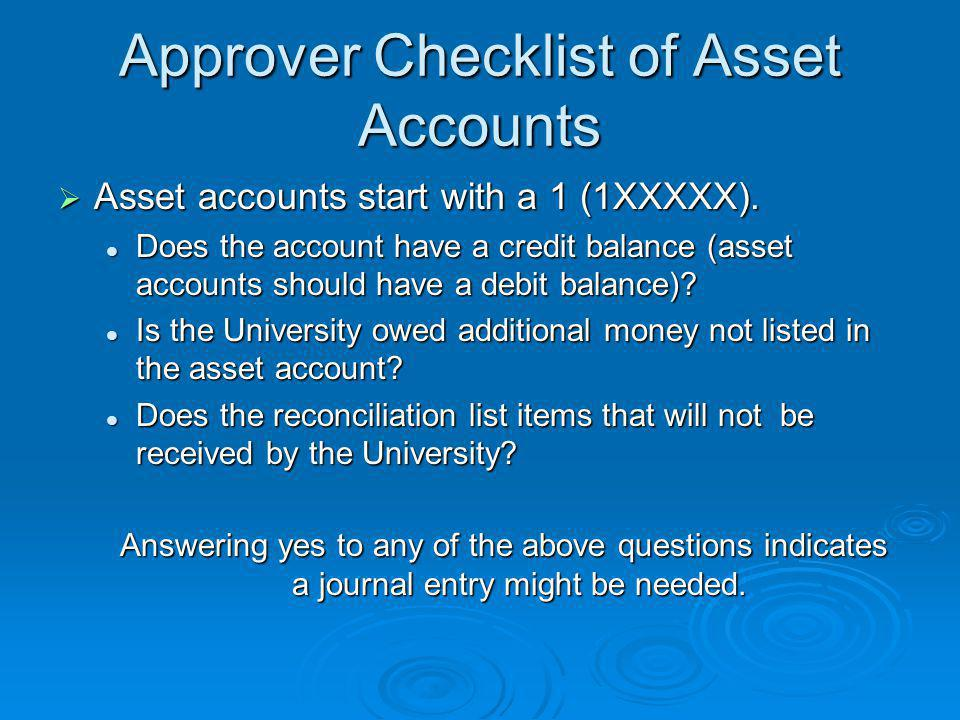 Approver Checklist of Asset Accounts