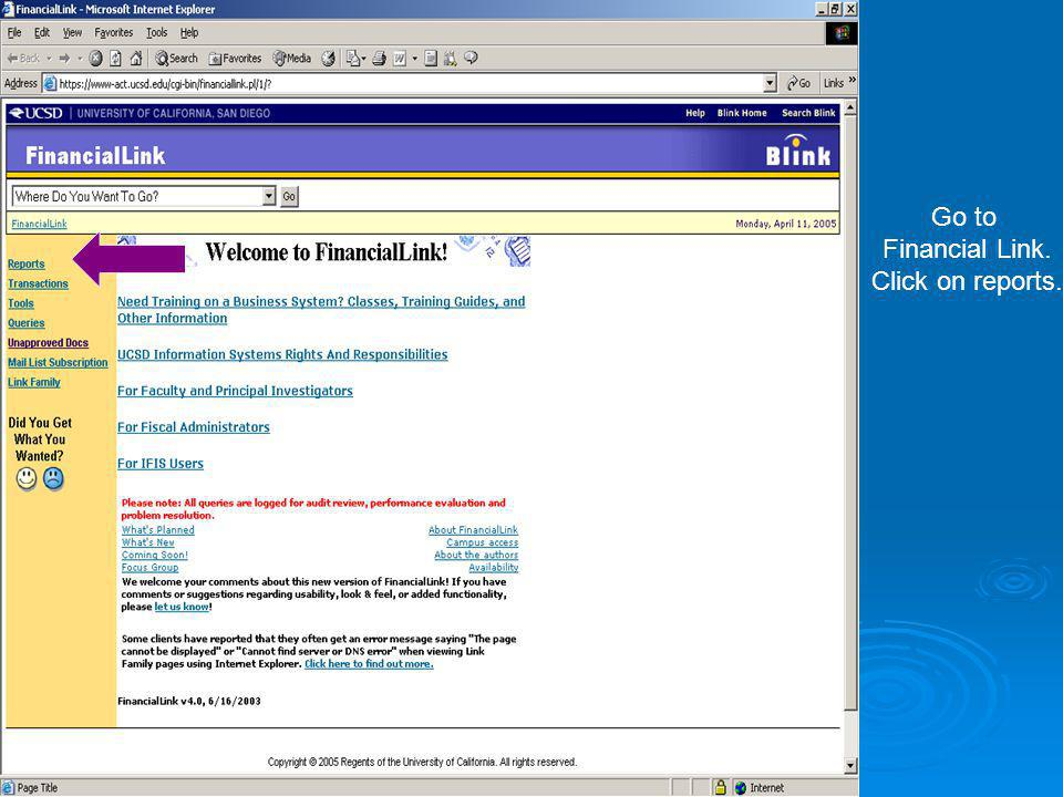 Go to Financial Link. Click on reports.