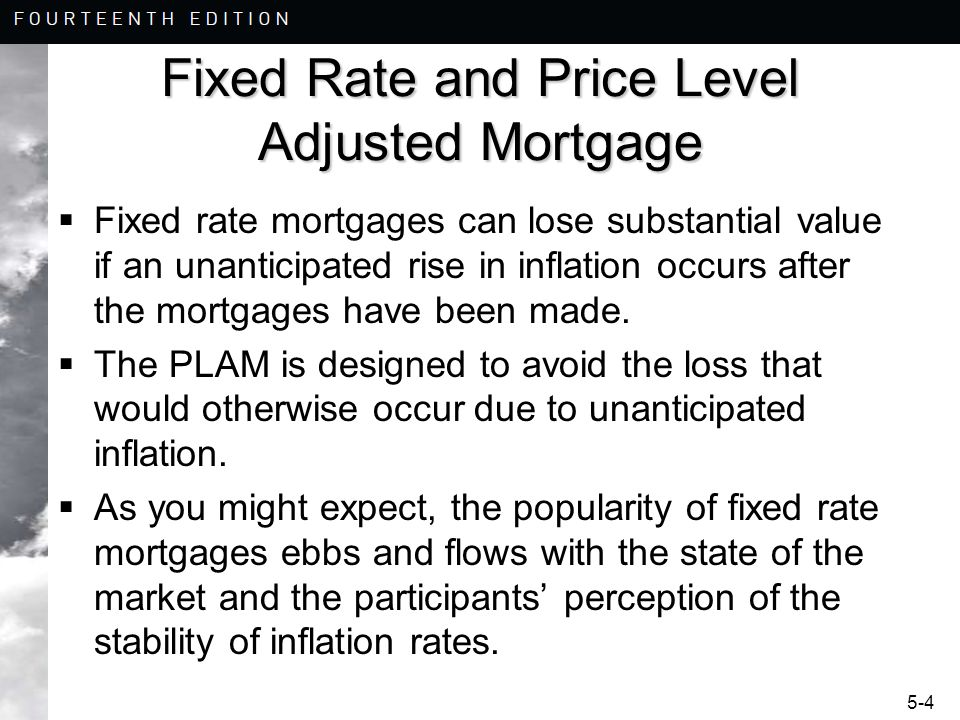 Fixed Rate and Price Level Adjusted Mortgage