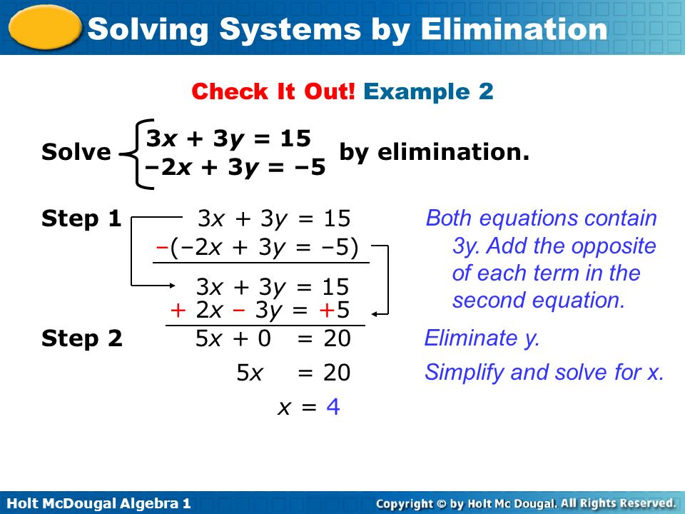 Check It Out! Example 2 3x + 3y = 15. Solve by elimination. –2x + 3y = –5.