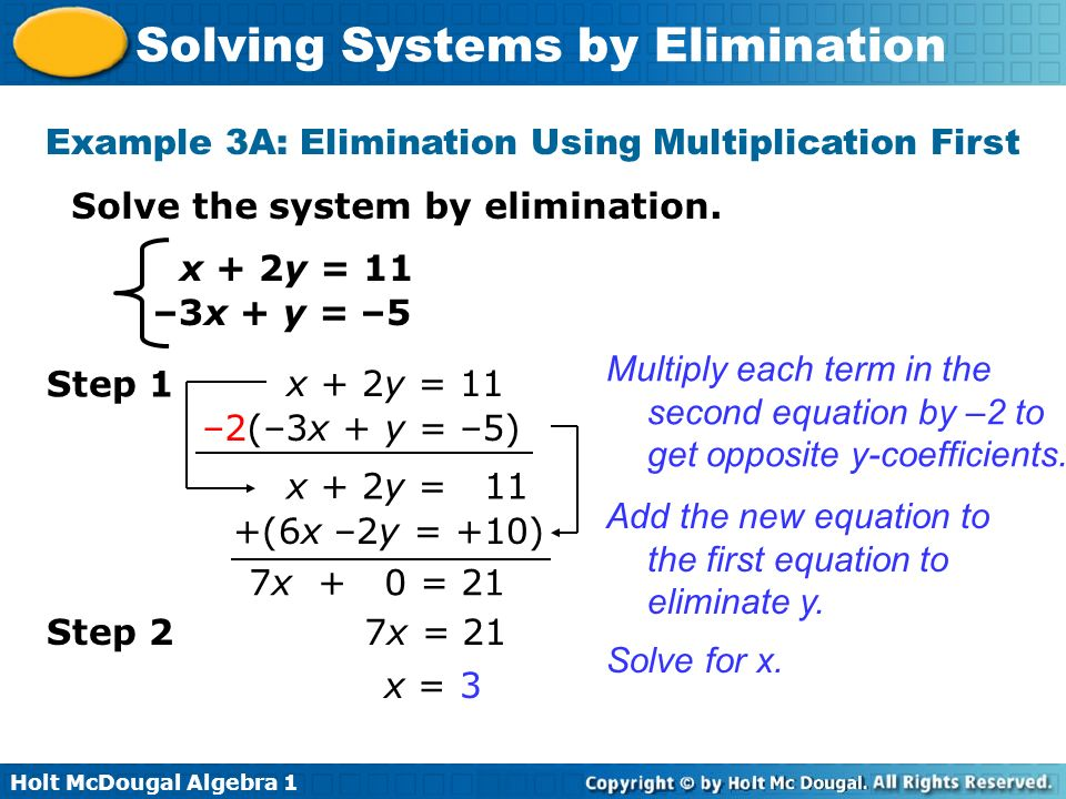 Example 3A: Elimination Using Multiplication First