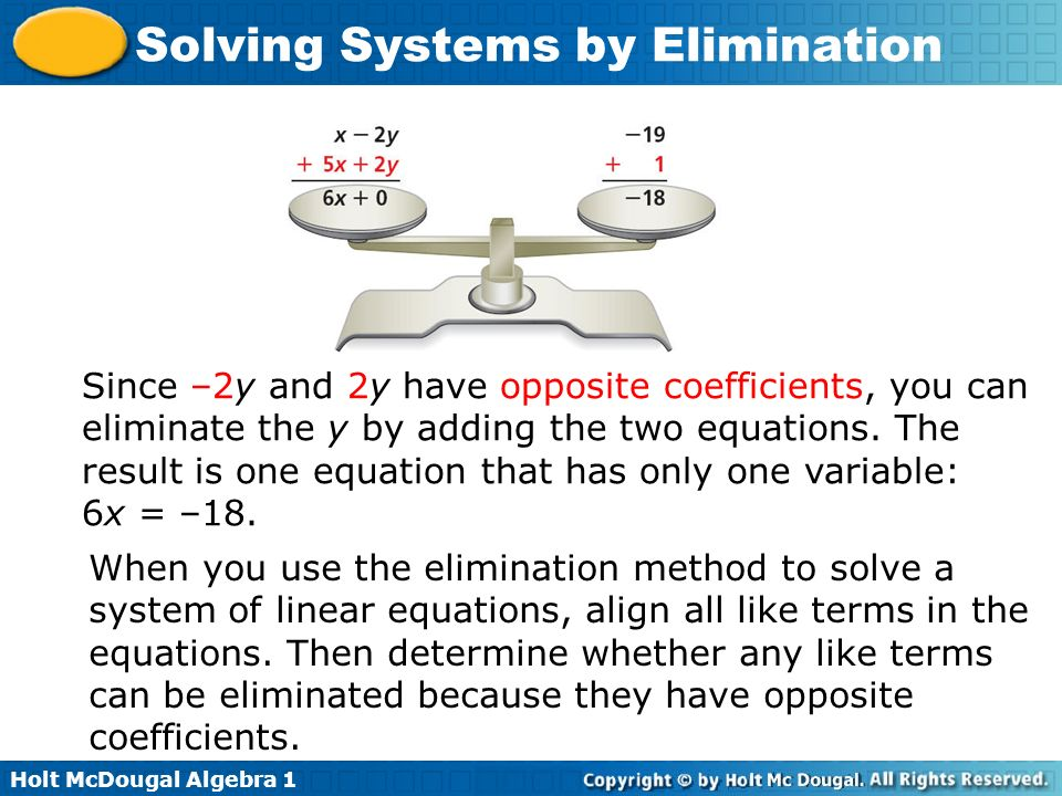 Since –2y and 2y have opposite coefficients, you can eliminate the y by adding the two equations. The result is one equation that has only one variable: 6x = –18.