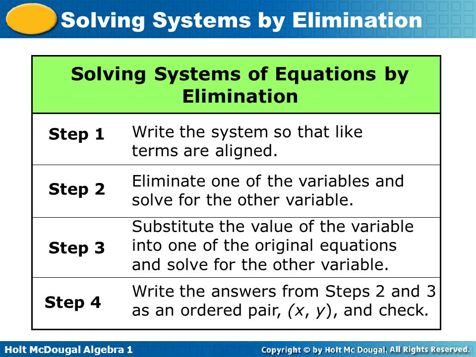 solving systems of equations How to solve systems of equations solving a system of equations requires you to find the value of more than one variable in more than one equation you can solve a.