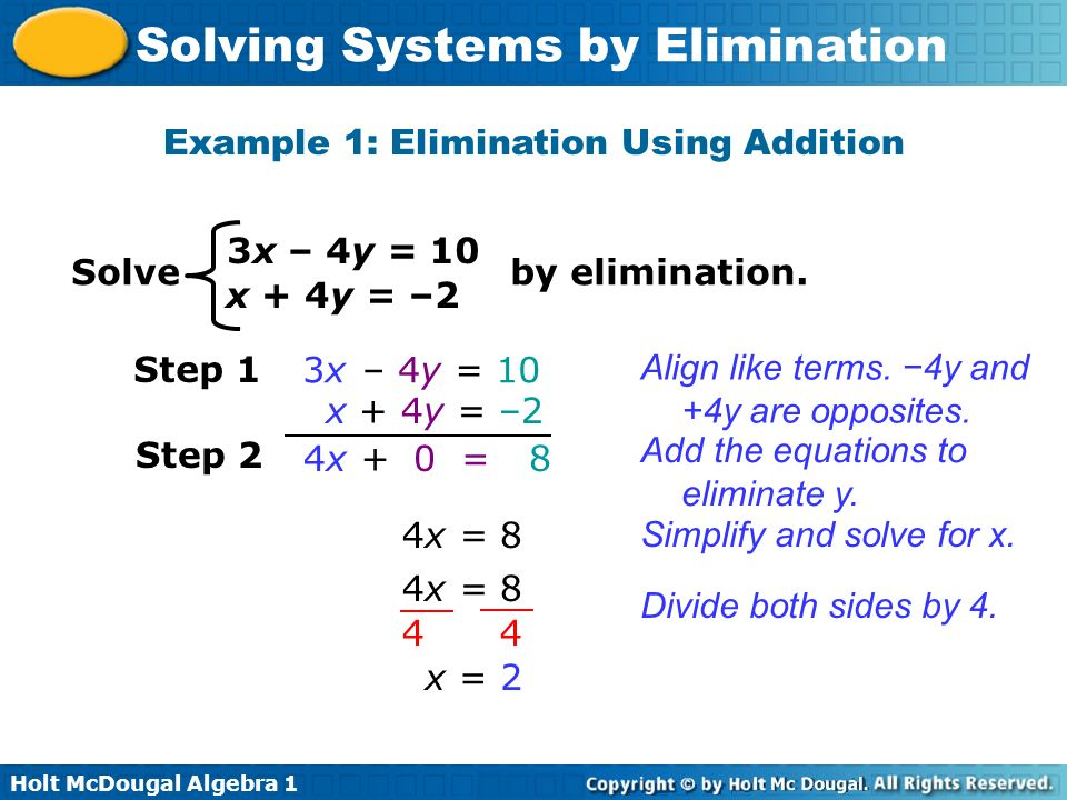 Example 1: Elimination Using Addition