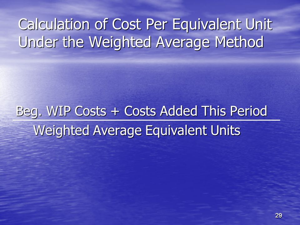 Calculation of Cost Per Equivalent Unit Under the Weighted Average Method
