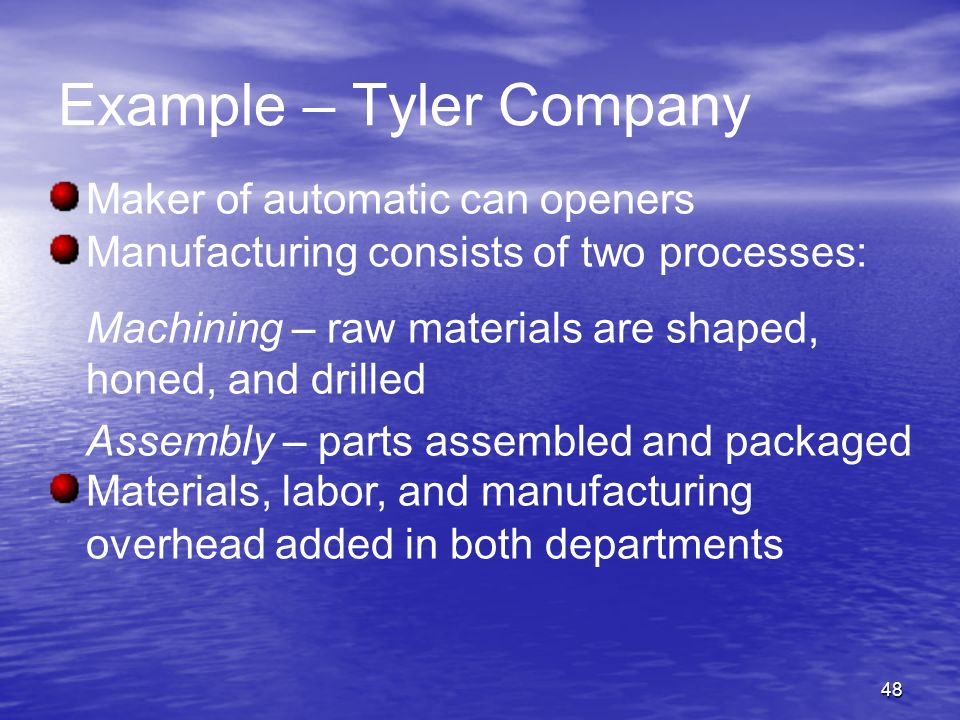 Example – Tyler Company