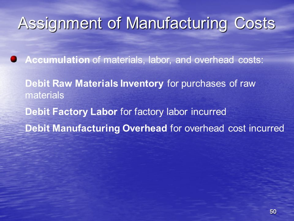 Assignment of Manufacturing Costs