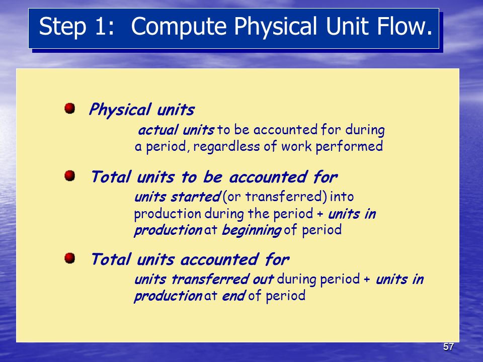 Step 1: Compute Physical Unit Flow.