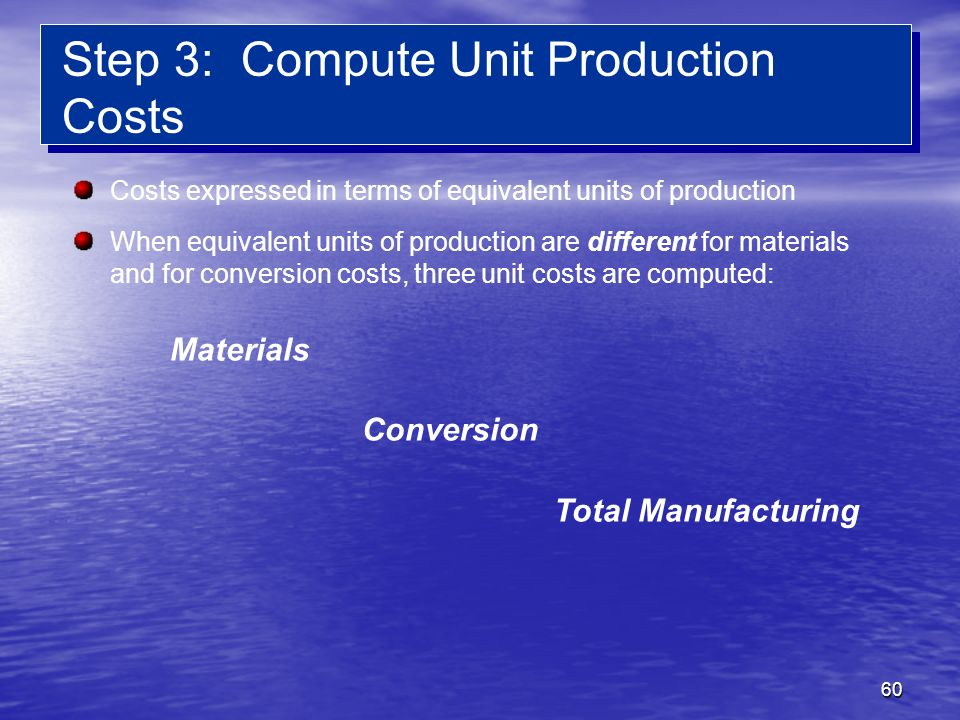 Step 3: Compute Unit Production Costs