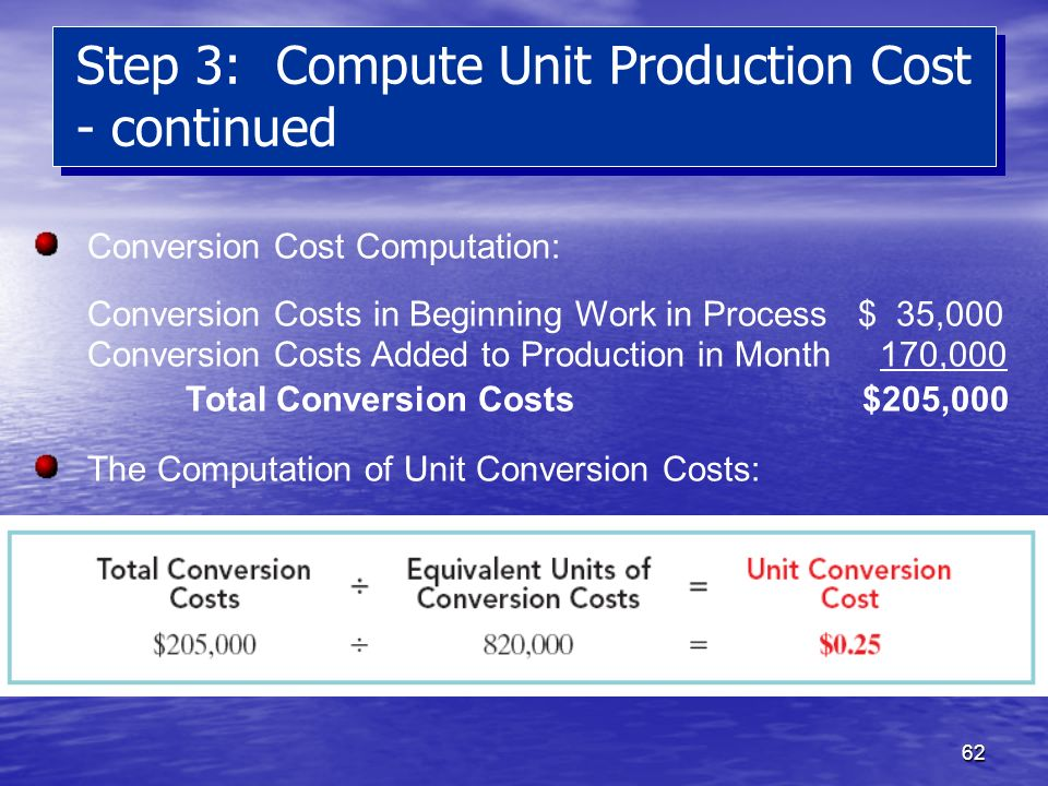 Step 3: Compute Unit Production Cost - continued