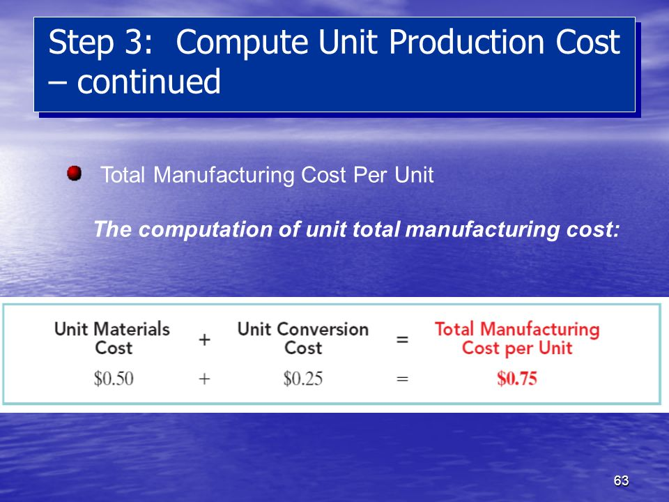 Step 3: Compute Unit Production Cost – continued