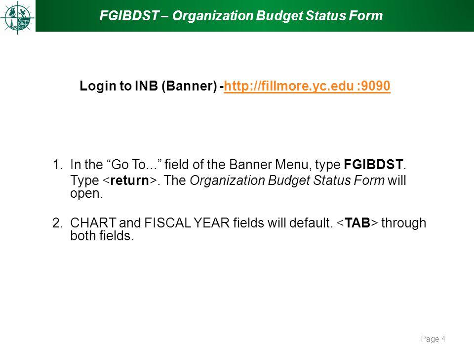 Login to INB (Banner) -http://fillmore.yc.edu :9090