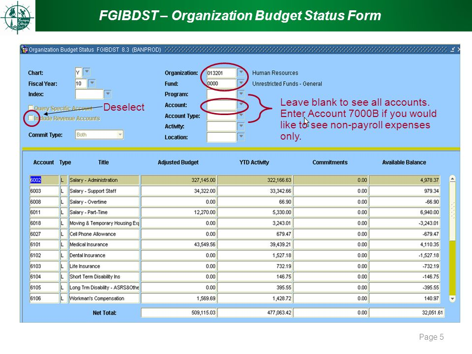 FGIBDST – Organization Budget Status Form