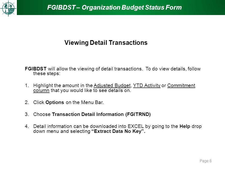 Viewing Detail Transactions