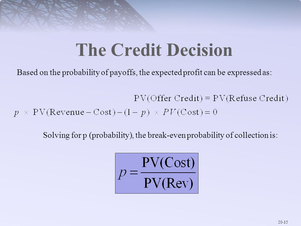 The Credit Decision Based on the probability of payoffs, the expected profit can be expressed as: