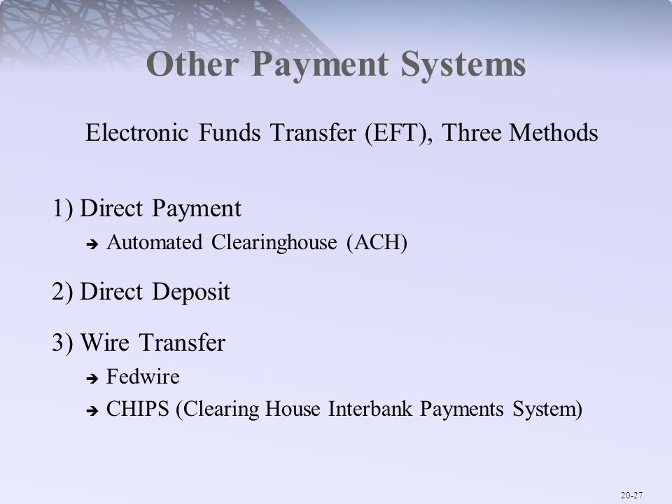 Electronic Funds Transfer (EFT), Three Methods