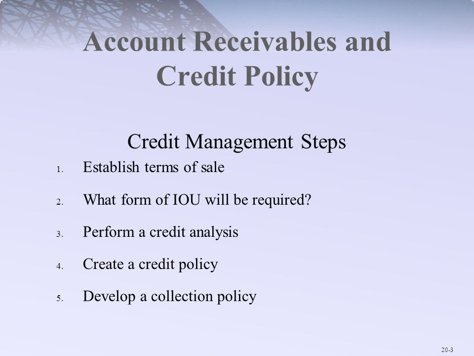 Account Receivables and Credit Policy