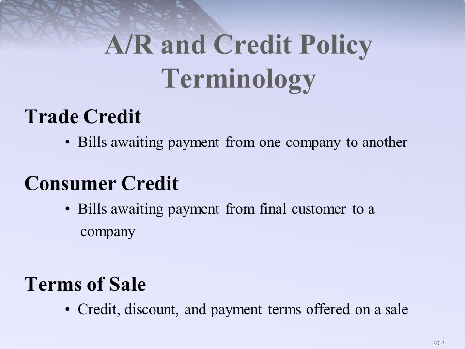 A/R and Credit Policy Terminology