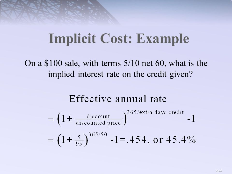Implicit Cost: Example